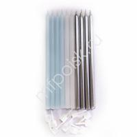 Свечи Silver&Blue с держателями 12шт 10см