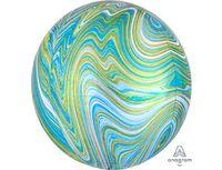 "1209-0325 А 3D СФЕРА Б/РИС 16"" Мрамор Blue Green"