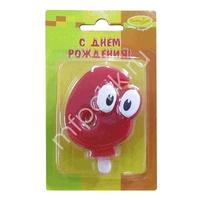 MC Свеча Цифра 6 Красная С глазками 6,5см