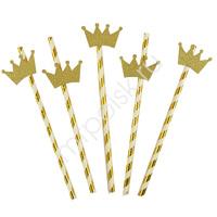 Y Трубочки для коктейля с золотой Короной 12шт