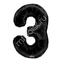 """K Фигура Цифра 3 черная 34""""/86см"""